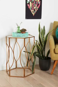 Hexagon Side Table in gold with glass top from Urban Outfitters Decor, Living Room Furniture, Side Table, Table, Living Room End Tables, Affordable Living Rooms, Hexagon Sides, Hexagon Coffee Table, Affordable Living Room Furniture