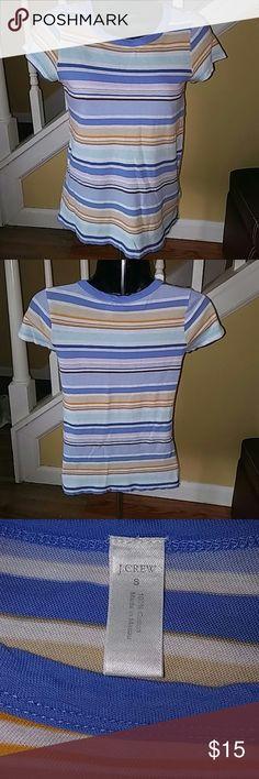 J. Crew Small 100% Cotton Tshirt. Multi colored striped. Excellent condition. Super cute. J. Crew Tops