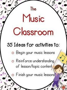 *** TWO more activities added 5 November PLUS links to helpful site online sites 35 Lesson Starters and other Activities for Music Classes *BEST-SELLER* 35 FANTASTIC ideas for activities with your music class! Elementary Music Lessons, Music Lessons For Kids, Music Lesson Plans, Music For Kids, Elementary Schools, Middle School Music, Music Worksheets, Piano Teaching, Music Classroom