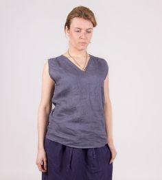 Linen top. Linen women shirt. Linen women blouse. Linen tank top. Sleeve less top. by Maliposhaclothes on Etsy