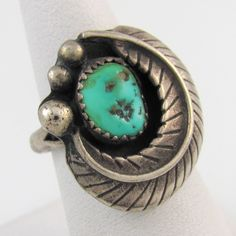 Old pawn, Navajo sterling silver and natural turquoise shadowbox feather ring.