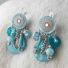 Boucle d'oreille clip Capri turquoise Bead Earrings, Crochet Earrings, Diy Jewelry, Jewelry Design, Turquoise, Jewelry Collection, Capri, Creations, Beads