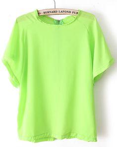 Green Batwing Short Sleeve Back Zipper Chiffon T-Shirt #SheInside