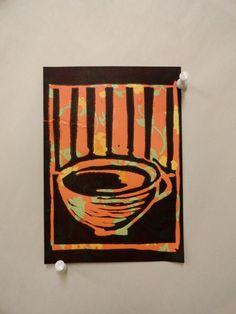 'Tea Print' Linoleum Block Print on patterned paper