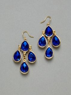 Blue Teardrop Chandelier Earring