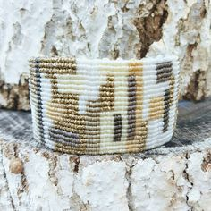 White and gold patchwork macrame bracelet