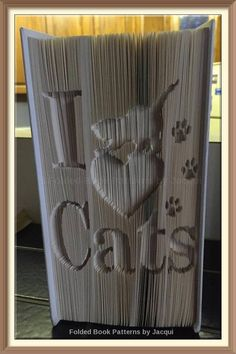 I Love Cats. Book Folding Pattern by JHBookFoldPatterns on Etsy