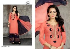 Kurta Sets Women's Embroidered Cotton Kurta set with Palazzos  *Fabric* Kurti -  Cotton , Palazzo - Rayon, Dupatta - Nazneen  *Sleeves* Sleeves Are Included  *Size* Kurti - Up To 48 in, Palazzo -  Up To 28 in To 34 in (Free Size), Dupatta - 2.25 Mtr  *Length* Kurti - Up To 46 in, Palazzo - Up To 40 in    *Type* Semi - Stitched  *Description* It Has 1 Piece Of Women's Kurti, 1 Piece Of Palazzo & 1 Piece Of Dupatta  *Work* Kurti - Embroidered, Palazzo - Embroidered, Dupatta - Border  *Sizes Available* Free Size *   Catalog Rating: ★4 (137)  Catalog Name: Women's Embroidered Cotton Kurta Sets CatalogID_403330 C74-SC1003 Code: 247-2958798-