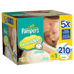 Pampers Swaddlers Diapers Super Economy Size 1 - 210 Ct