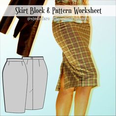 Skirt Draft and Pencil Skirt Pattern 2nd Ed (download) #wellsuitedblog #patternpuzzles #creativepatternmaking #sewingpatterns #vintagepatterns #PDFsewingpatterns #digitalgarmentblocks #plussize #studiofaro #patternmakinginstructions #patternmakingworksheets Pdf Sewing Patterns, Vintage Patterns, Pattern Worksheet, Pattern Blocks, Pattern Making, Pencil, Plus Size, Skirts, How To Make