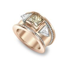 18CT ROSE GOLD, CERTIFIED PRINCESS CUT BROWN DIAMOND & TRILLIANT CUT DIAMOND BOMBE RING REF: 1-1-13-0084 £22,000.00 The iconic bombé  ring, an original Theo Fennell design that is now a much coveted piece of jewellery. Updated in a 18ct rose gold finish with a 3.10ct certified princess cut brown diamond  centre stone embraced by two 0.48ct trilliant cut diamonds. | by Theo Fennell Jewelry