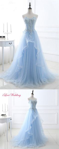 A Line Sweetheart Corset Light Blue Tulle Ruffle Applique Beaded Prom Dress M0542#prom #promdress #promdresses #longpromdress #promgowns #promgown #2018style #newfashion #newstyles #2018newprom#eveninggowns#sweetheart#lightblue#tullruffled#applique#beadedpromdress