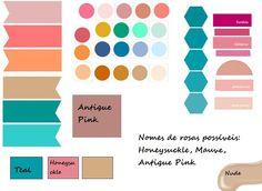 AS CORES DO CASAMENTO  Não sou boa em explicar a paleta de cores, por isso coloquei as cores centrais e as variações possíveis.