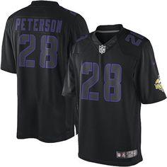a6035c772954e Nike NFL Elite Men s Minnesota Vikings Black  28 Adrian Peterson Impact  Jersey Bbc Football