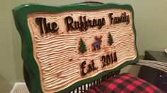 """Freshly carved, varnished and painted rustic sign ready for a wedding! By Adirondack Jim www.adirondackjims.com and Facebook """"Adirondack Jim's rustic signs"""
