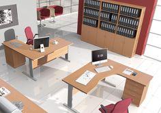 Powierzchnię roboczą biurka można dowolnie zmieniać stosując dostawki lub kontenery, dopasowane wysokością do blatu biurka.