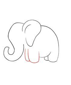 Elephant Drawing For Kids, Cartoon Elephant Drawing, Elephants For Kids, Elephant Doodle, Elephant Outline, Elephant Sketch, Elephant Art, Draw An Elephant, Cute Elephant Cartoon