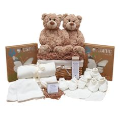 Twins two bears in a basket organic baby gift basket. Twin Baby Gifts, Baby Gift Hampers, Twin Babies, Baby Twins, Baby Bouquet, Baby Lotion, Organic Baby Clothes, Aromatherapy Oils, Baby Wraps