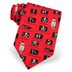 Men's 100% Silk Red Pirate Flag Skull & Bones Necktie Neck Tie Neckwear  http://www.yourneckties.com/mens-100-silk-red-pirate-flag-skull-bones-necktie-neck-tie-neckwear-3/