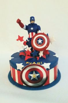 Marvels Captain America birthday cake by Your Hunny's Bakery