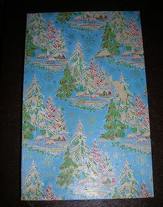Vintage Lg Early Decorated Christmas Dept Store Gift Box Blue Red & Green (11/10/2013)