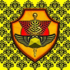 Pôster Diligência - Simbologia: O Escudo da Diligência é composto pelo caduceu que é o símbolo do equilíbrio moral e da boa conduta, onde o bastão representa o poder, as serpentes a sabedoria e as asas a diligência e a liberdade. O Escudo em si representa a consciência desperta no ser humano, capaz de protegê-lo de todo infortúnio. Os cubos representam a dualidade presente em tudo na vida e no universo, o elmo é o que protege a cabeça conduzindo a pensamentos elevados. No fundo o sol…