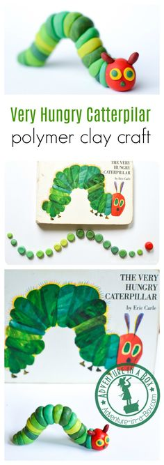The Very Hungry Caterpillar Craft Make the very hungry caterpillar from polymer . The Very Hungry Caterpillar Craft Make the very hungry caterpillar from polymer clay! It's a suitable craft Clay Projects For Kids, Clay Crafts For Kids, Art Projects For Adults, Crafts For Teens To Make, Easy Arts And Crafts, Preschool Crafts, Diy And Crafts, Air Dry Clay Ideas For Kids, Toddler Crafts