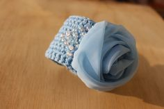 Crochet bracelet,  Blue Rose, Summer Braselet, Textile Jewelry Beach Wedding