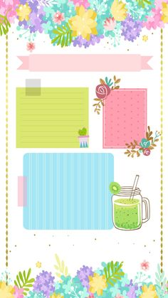 Pop Art Wallpaper, Watercolor Wallpaper, Kawaii Wallpaper, Pattern Wallpaper, Wallpaper Backgrounds, Screen Wallpaper, Notebook Doodles, Note Doodles, Papel Scrapbook