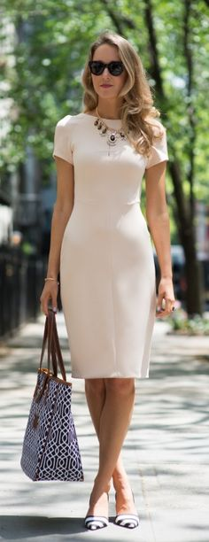 black and white accents + nude sheath dress + monogram tote