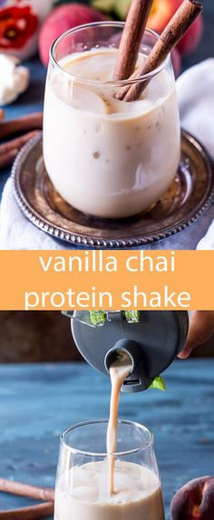 Your favorite chai spices in a healthy protein shake! This vanilla chai protein shake recipe is perfect for on-the-go energy. #AD #Shakerbottle https://ooh.li/ac45e74