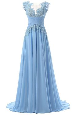 Blue A Line Scoop Neck Chiffon Tulle Sweep Train Appliques Lace Prom Dress