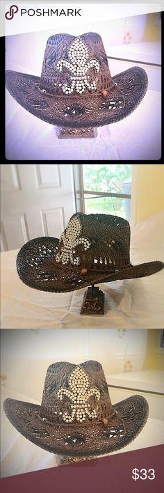 Western Hat With Fleur de Lis Ladies Gorgeous brown Western style hat with Crystal Fleur de lis appliqué. Accessories Hats
