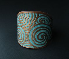 Etched Copper Cuff - Sea swell Design - Unisex -  Etched Metal - handmade copper jewelry. $52.00, via Etsy.