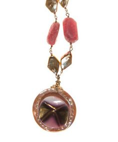 """Circa 1850, Mother of Pearl with Circa 1960, Metallic Glass on Honey Comb Fresh Water Pearls and Rhodochrosite on  gold filled chain. Necklace length 17 1/2"""" - 21 1/2"""" inches. Pendent length 2"""" inch. Pendent width 1 1/2"""" inch. Lobster clasp. Made in USA.  www.thesagelifestyle.com"""