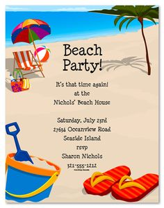 charming beach party invitation design idea with breach background, Party invitations