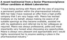 A candidate testimonial from a Senior Pharmacovigilance Officer at #Abbott Laboratories - http://www.clinicalprofessionals.co.uk/candidates-testimonials.asp #clinicalprofessionals
