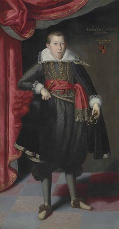 Circle of Lucas van Valckenborch I. Portrait of Freiherr Ernst Löbl of Greinburg, full-length, aged 15, dated 1609. I like the shoes - neither rosettes nor skinny ribbons.