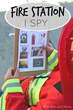 Fire Station I Spy (free preschool printable). Perfect for fire prevention week and field trips to the fire station!