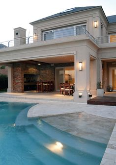 20 Pool Swing for Luxurious Impression in Your Home House Front Design, Modern House Design, Mediterranean Homes, Dream Home Design, Modern House Plans, House Layouts, House Goals, Porches, Future House