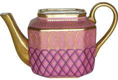 "Charles X Period Paris Porcelain Pink Gound Teapot; France, c. 1830. Faint maker's initial mark ""JC"" on the underneath"