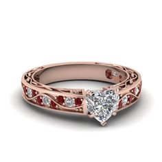 Heart Shaped diamond Side Stone Engagement Rings with Red Ruby in 18K Rose Gold | Antique Scroll Ring | Fascinating Diamonds