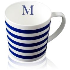 caskata blue beach towel stripe handled mug initial m 23 liked on