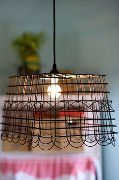 Light Fixtures From Old Wire Baskets