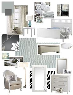 serene gray + light blue bedroom board how to set up my presentation board! Bedroom Sitting Room, Guest Bedroom Office, Bedroom Wall, Bedroom Ideas, Master Bedroom, Light Blue Rooms, Dope Rooms, Big Beds, Interior Design Boards