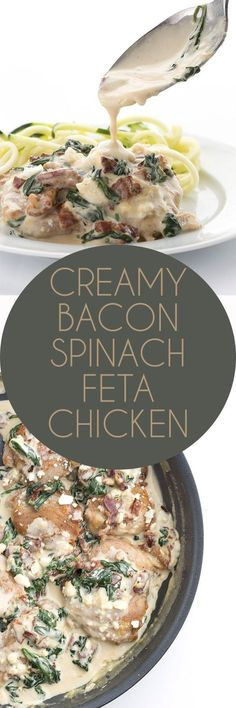 This easy keto skillet chicken recipe will knock your socks off. So creamy and delicious, with bacon, spinach, and feta. Serve over zucchini noodles for the ultimate low carb dinner.  via @dreamaboutfood