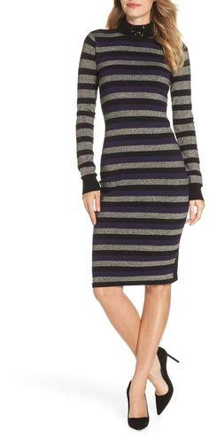 Eliza J Stripe Sequin Mock Neck Sweater Dress Bodycon Outfits, Dress Outfits, Bodycon Dress, Spandex Dress, Sexy Skirt, Types Of Dresses, Nordstrom Dresses, Autumn Winter Fashion, Sweaters