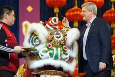 Prime Minister of Canada Stephen Harper participated in the dotting the dragon ritual at a Chinese New Year celebration in Richmond, BC on Feb 19, 2015.