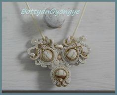 Bézs hajók - csillogó aszimmetrikus sujtás nyaklánc - áttört / Beige ships - sparkling asymmetrical necklace soutache - pierced