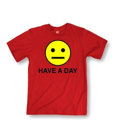 Red 'Have A Day' Smiley Tee by MAD Teez #zulily #zulilyfinds